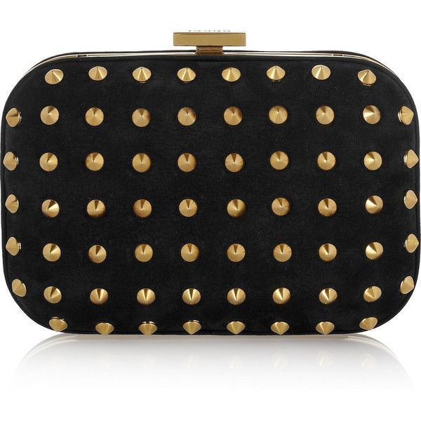 Gucci Studded suede mini box clutch ($1,225) ❤ liked on Polyvore