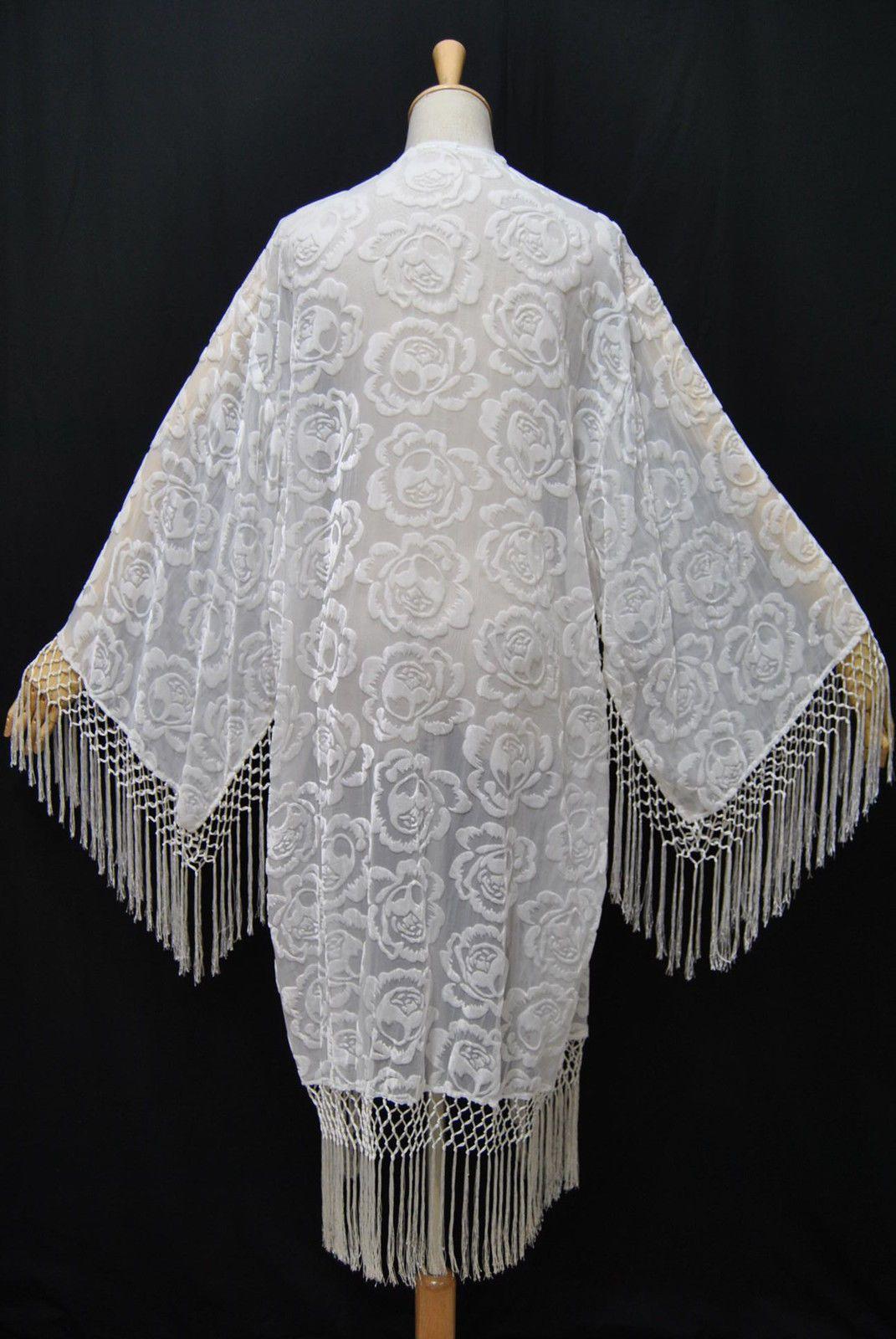 WHITE GODDESS~GORGEOUS FANCY ARTDECO VELVET GODDESS ARTWEAR FRINGE COAT~SZ XL~