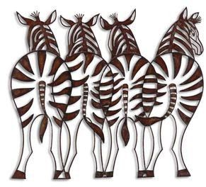 Wrought Iron Zebra Wall Decor Cut Out Forged Metal French Country Tuscan
