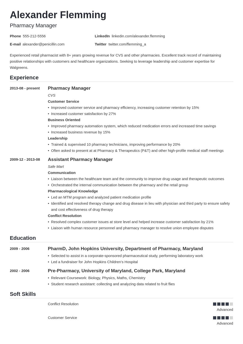 pharmacist resume example template nanica in 2020 Resume