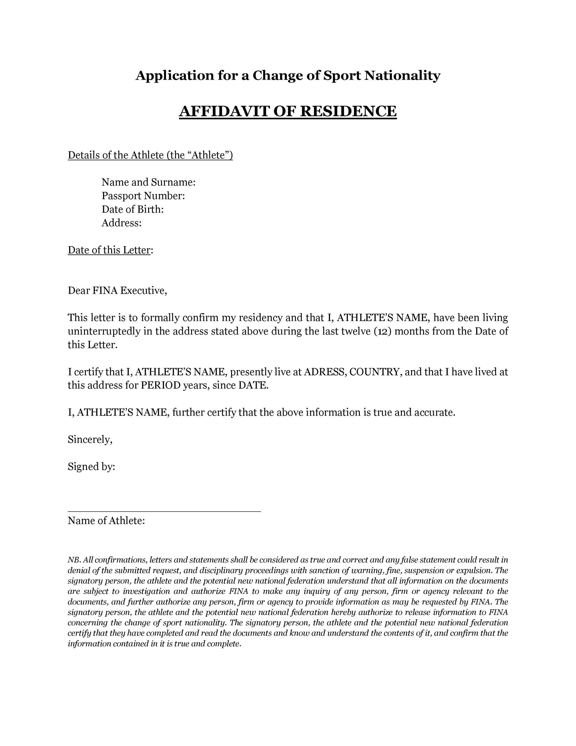 Proof Of Residency Letter Template Letter Templates Letter Template Word Lettering