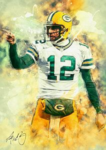 Green Bay Packers Painting Aaron Rodgers By Taylan Apukovska Green Bay Packers Art Green Bay Packers Wallpaper Green Bay Packers Football