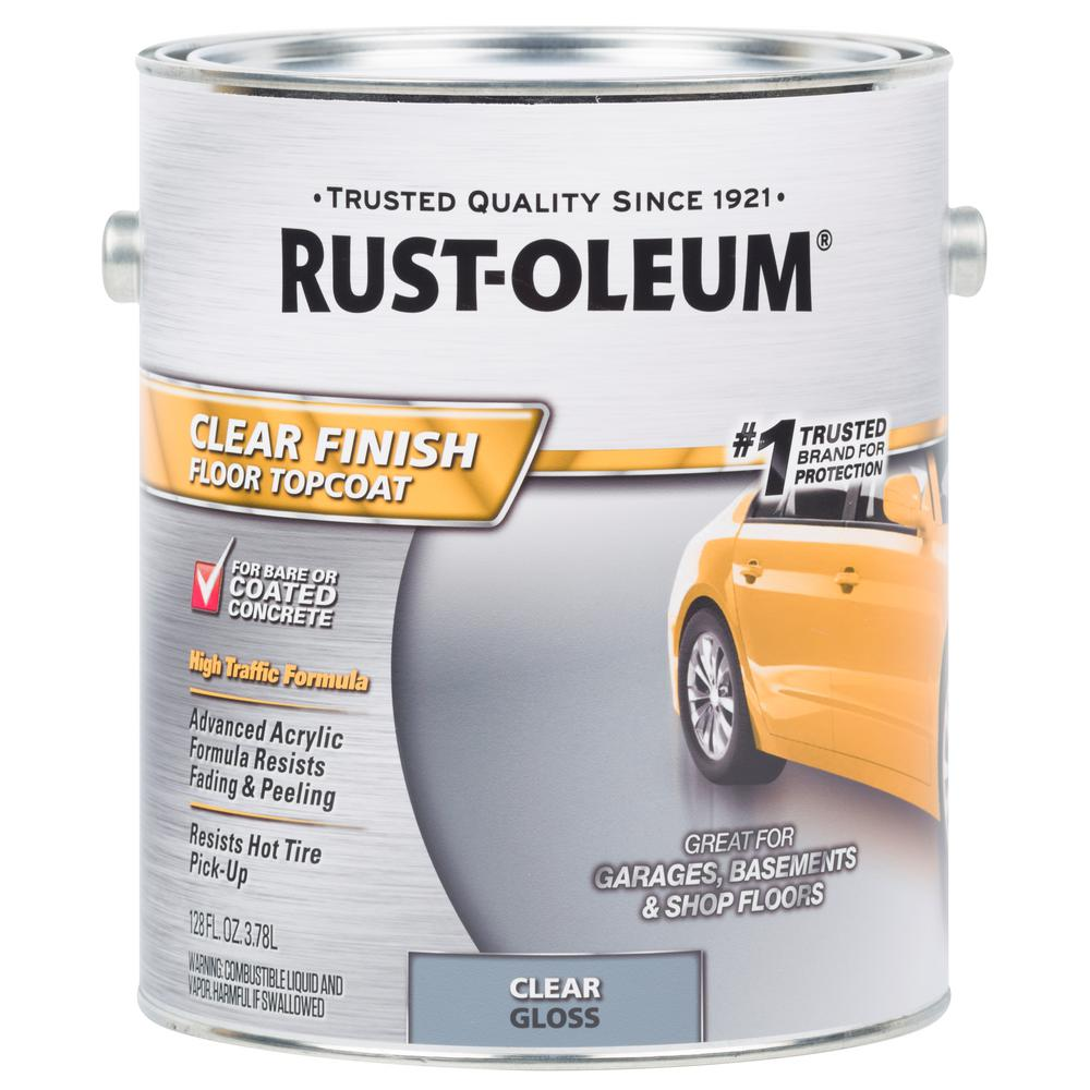 Rust Oleum 1 Gal Clear Concrete And Floor Topcoat 320202 The Home Depot Floor Coating Rustoleum Concrete