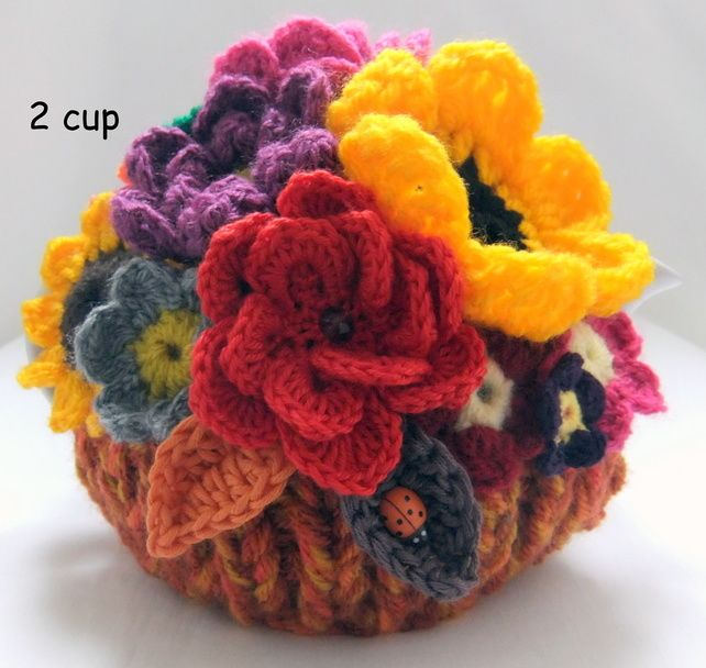 Autumn Basket 2 cup Floral Tea Cosy | Tea cosy knitting ...