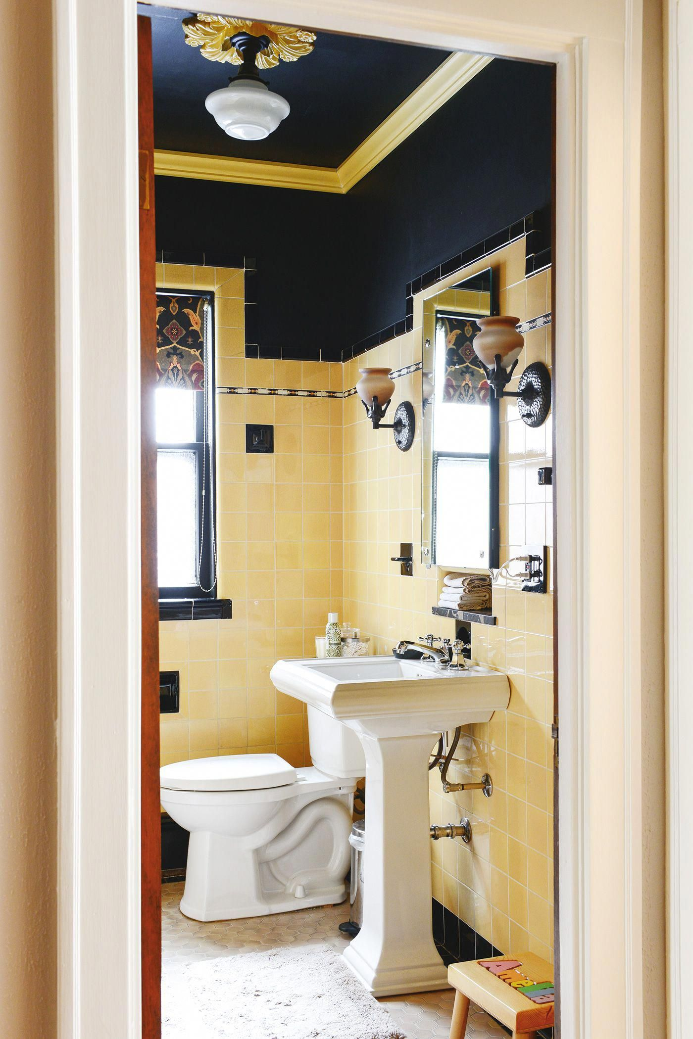 How To Refresh A Vintage Bathroom Keep The Charm I Of Ii Yellow Bathroom Tiles Vintage Bathroom Yellow Bathrooms