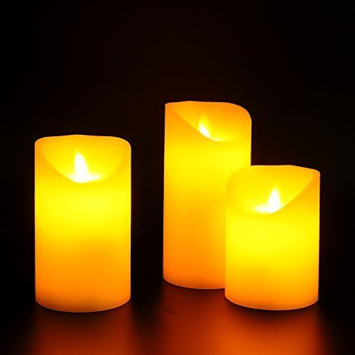 flameless candles xixov battery operated flickering flameless candles with remote control ivory real wax auto timer set of 3 - Flameless Candles With Timer