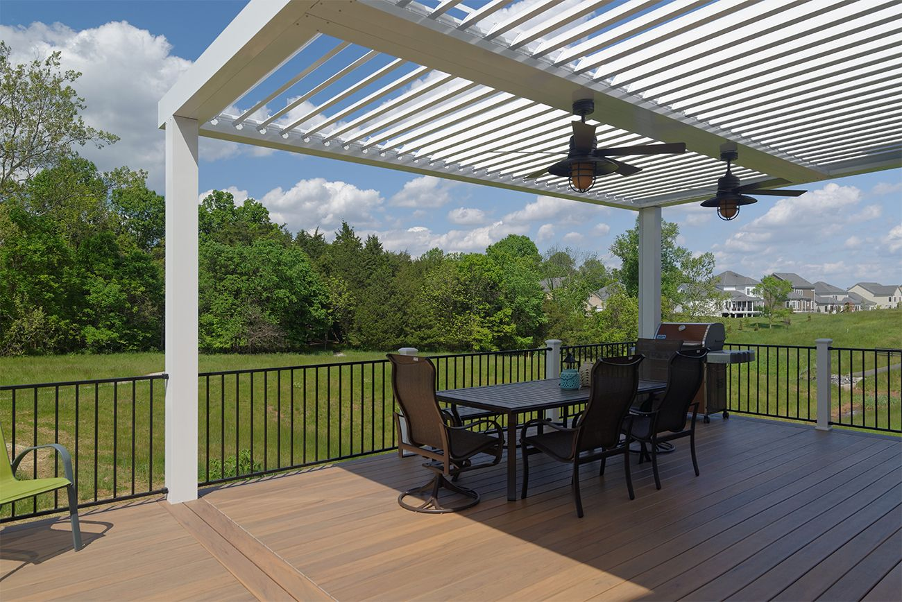 Enjoy Your Deck Rain Or Shine With An Equinox Adjustable Louvered Roof Open Louvers Let In The Light And Closed L Outdoor Pergola Pergola Shade Pergola Patio