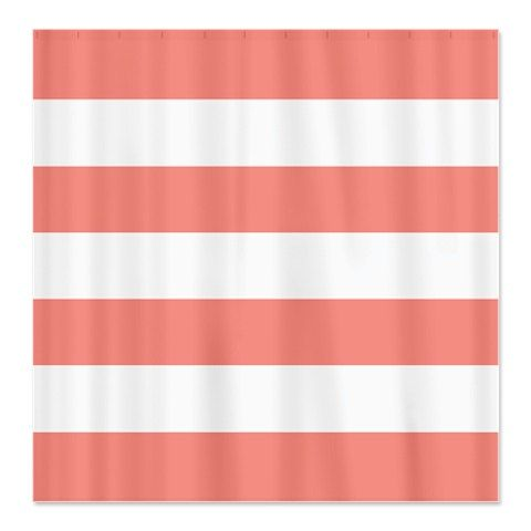 Large Striped Custom Shower Curtain Coral And White Stripes OR Choose Colors Standard Extra Long Sizes Available