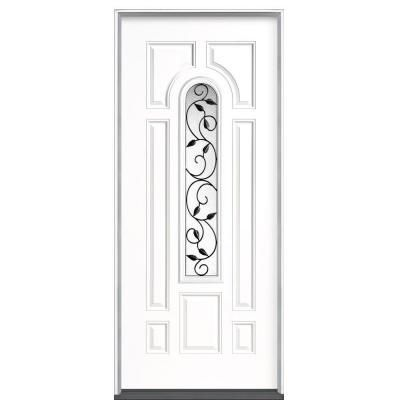 Masonite 36 In X 80 In Pergola Center Arch Right Hand Inswing Primed Steel Prehung Front Exterior Door No Brickmold 39434 The Home Depot Exterior Doors Steel Entry Doors Exterior Front Doors