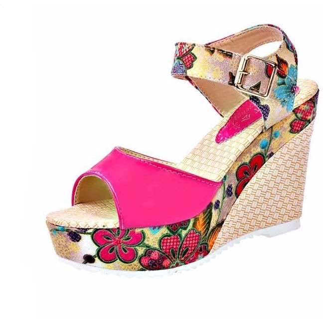 0aba96009 Floral Print Ankle Strap Women Summer Wedge Sandals | Products ...