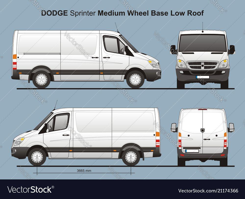 Dodge Sprinter Mwb Low Roof Cargo Van Vector Image On Vectorstock Cargo Van Van Dodge