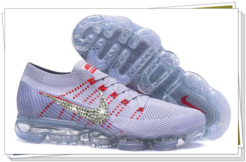 64739a779c3c Newest 2018 Glitter Swarovski Crystal Swoosh Vapormax Flykint White  University Red WMNS Size US 7