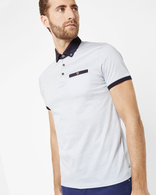 ab082785 Geo spotted cotton polo shirt - Charcoal | Tops & T-shirts | Ted Baker