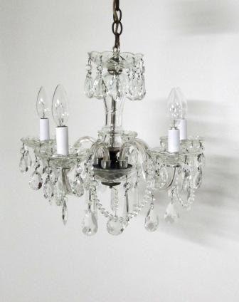 Vintage Crystal Chandelier 5 Bobeche Candlestick Lights Classic Crystal  Ornate Design