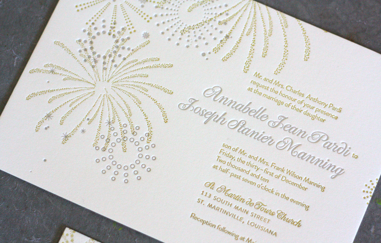 New Years Eve Wedding Invitation: Gorgeous Letterpress New Years Eve Wedding Invites Via