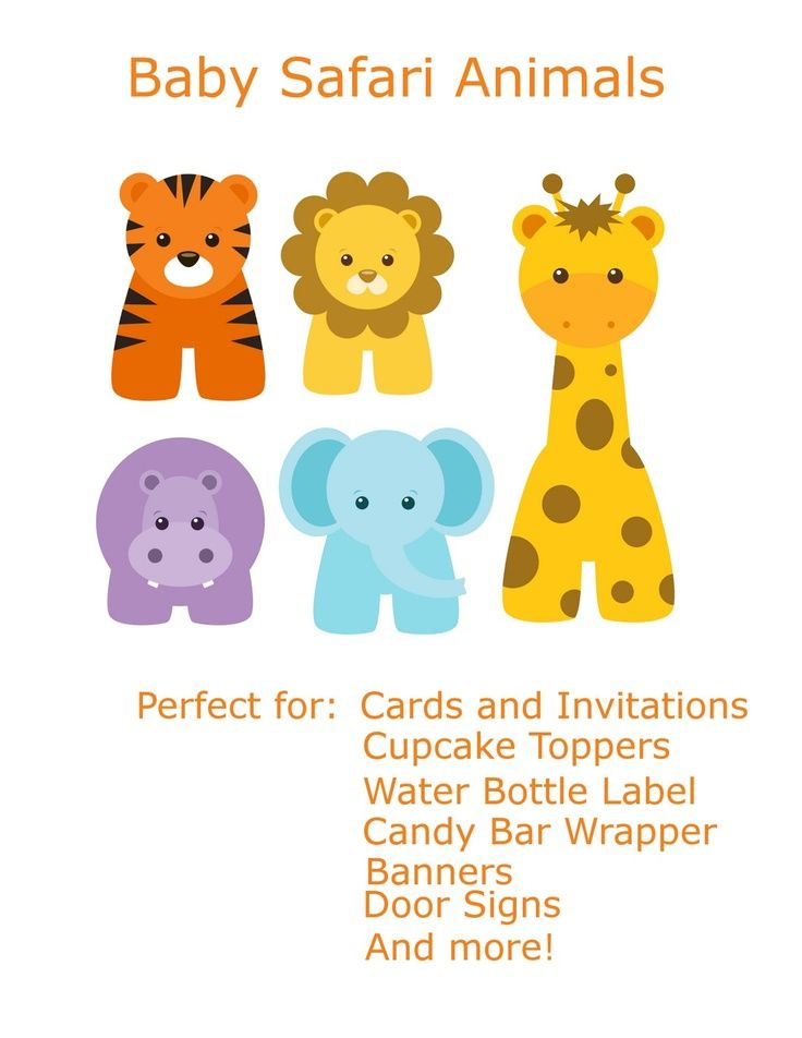 Free Baby Animal Clip Art Paper Parties Baby Safari Clip Art Jungle Animals Baby Shower Jungle Animal Baby Shower Invitations Animal Baby Shower Invitations