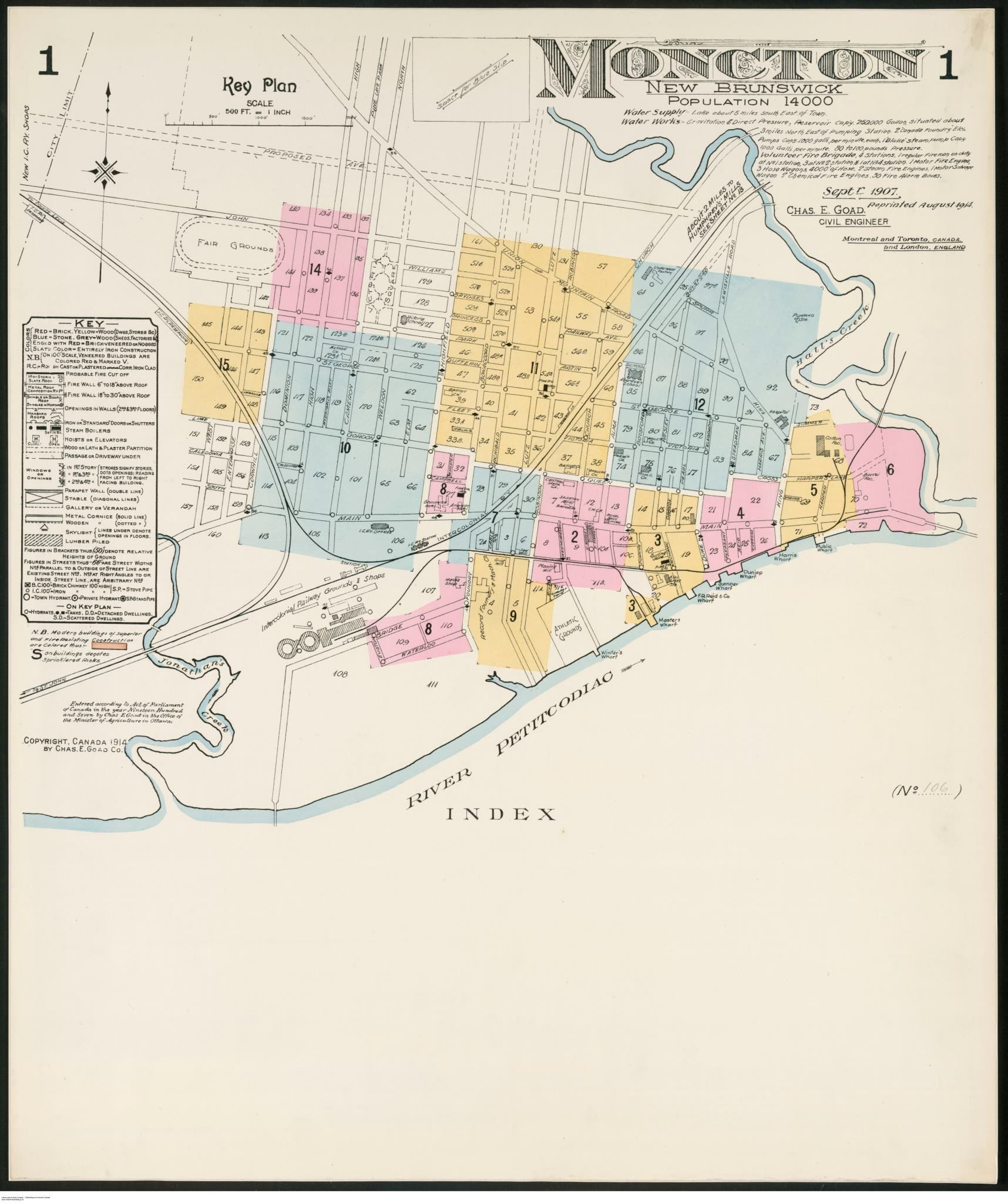 Map Of Moncton From 1907 1900 S Historical Maps Old Maps Map