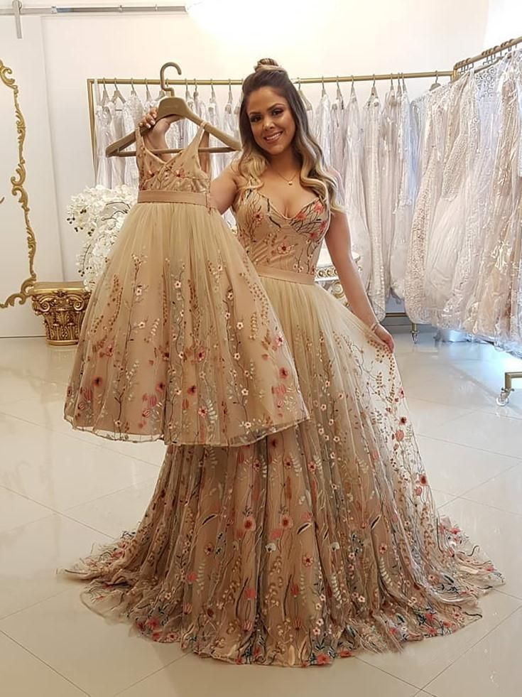 3b21c8a8db7 Spaghetti Strap A Line Floral Embroidery Prom Dresses Long Formal Party  Dress OKH48 – Okdresses  goldpromdress  Floralpromdresses