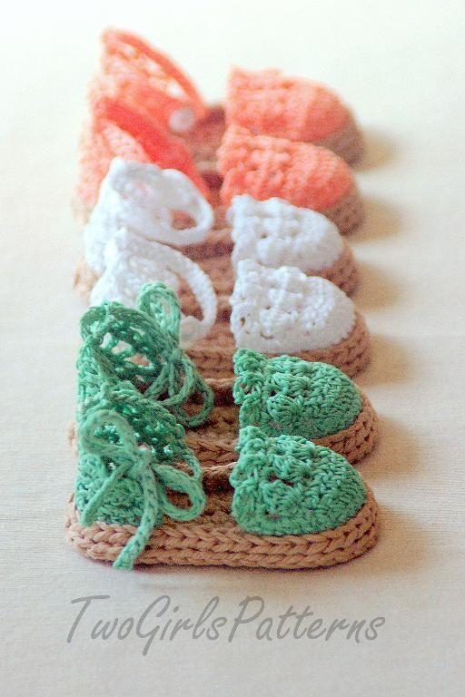 Crochet Pattern Baby Espadrille Shoe | Ganchillo, Crochet para bebes ...