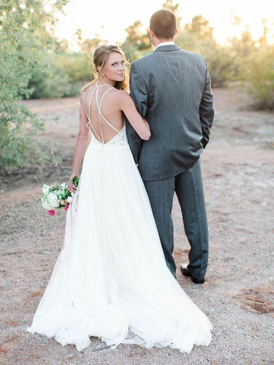 Wedding dress with straps and open back