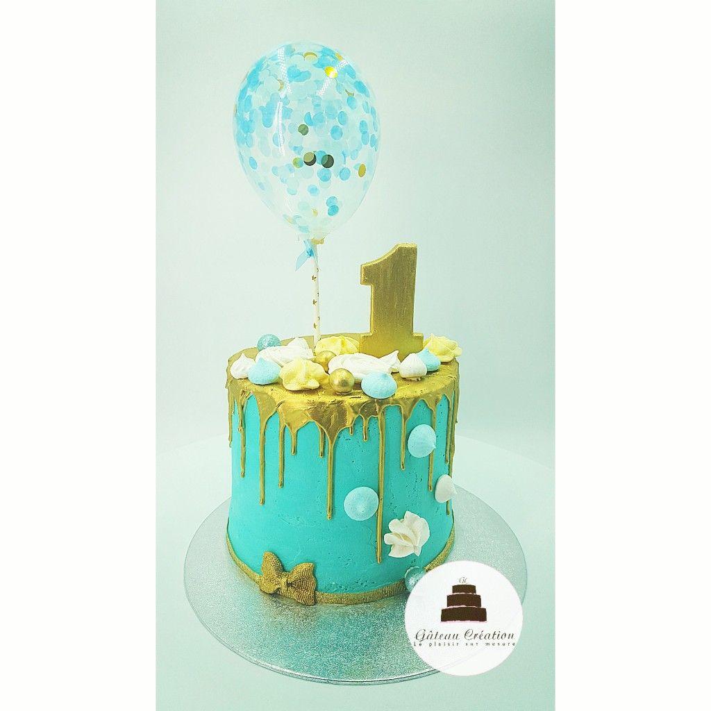fa87fdffe13890 Gâteau d'anniversaire drip cake bleu décoré de son coulis au ...