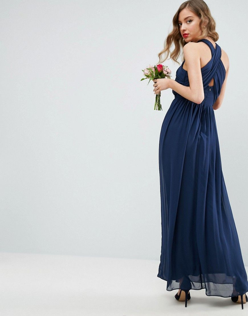 678a222269 ASOS Chiffon Twist Front Ruched Maxi Dress - Navy   Products