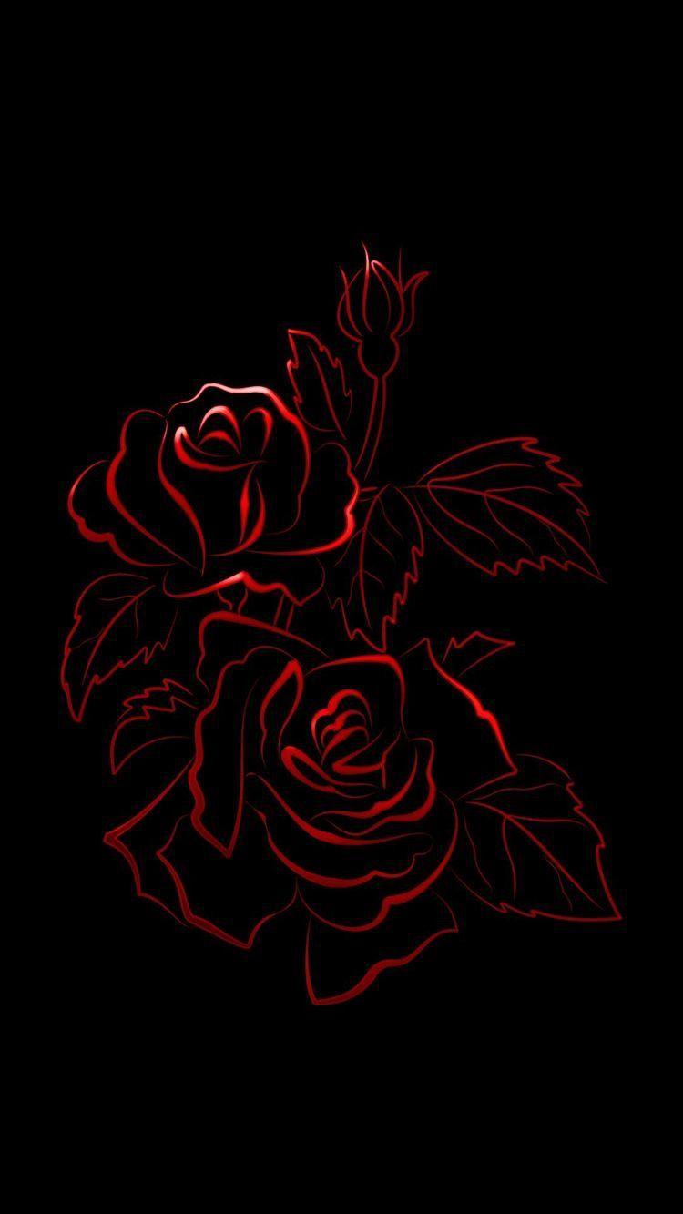 Red Outline Roses Over Black Bg Mobile Iphone Wallpaper Background Lockscreen Soyut Tuval Guller Resimler