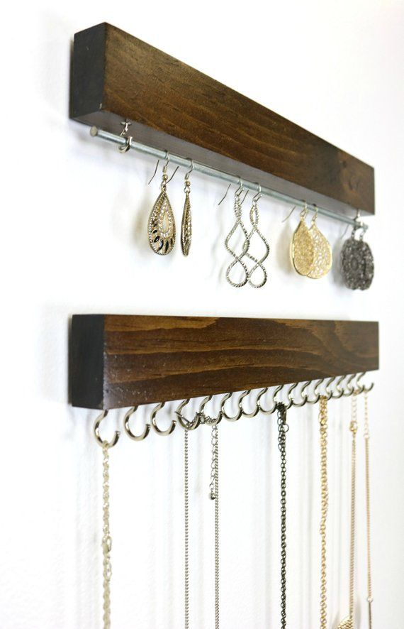 Wall Mount Jewelry Organizer Necklace Holder And Earring Holder Wall Mount Jewelry Organizer Jewelry Organizer Wall Jewelry Wall