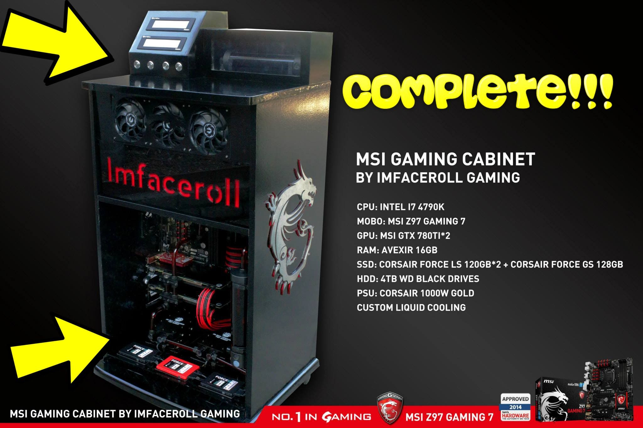 Merveilleux Custom Liquid Cooled Gaming PC Modification Within A Cabinet COMPLETE