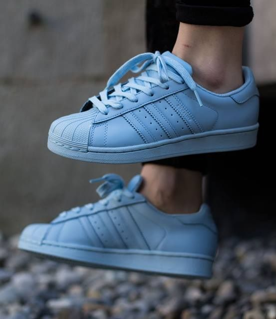 buy popular 977b4 46a39 Pharrell Williams x adidas Originals Superstar  Supercolor  Light Blue my  favourite pair of shoes and I can t find them anywhere.. Best for work!!