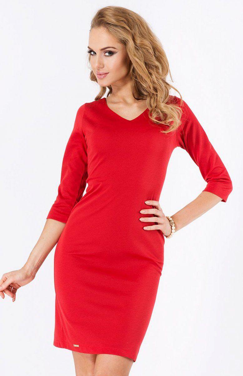 ba6d4b7932 Makadamia M182 sukienka czerwona Klasyczna sukienka idealna na każdą okazję