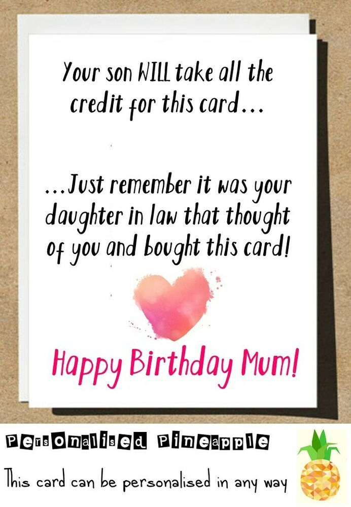 MUM BIRTHDAY CARD FUNNY YOUR SON WILL TAKE THE CREDIT BUT ...