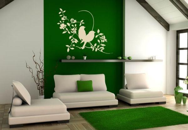 Wanddeko weiß-grün-Wohnzimmer-Vögel | KMA | Pinterest | Design