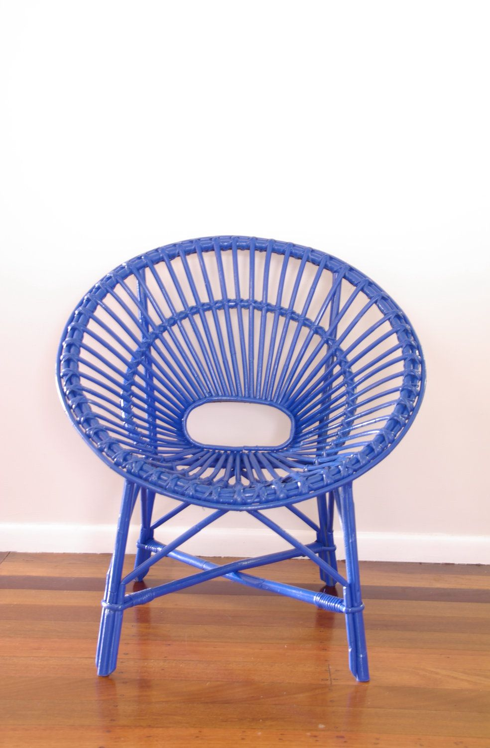 Made To Order   Upcycled Vintage Cane Saucer Chair Neon Blue. $151.00, Via  Etsy.