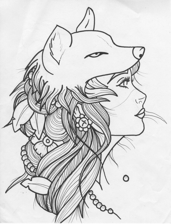 Pin Van Michaela Dutra Op Tattoo Tatoeage Wolf Mandala Kleurplaten Dieren Tekenen