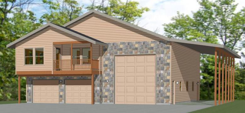 44x48 Apartment 44x48h5k 2 Bedroom 1 5 Bath Apartment With 2 Car Garage Rv Bus Or Big Rig Garage House Plans Garage Plans With Loft Small House Plans