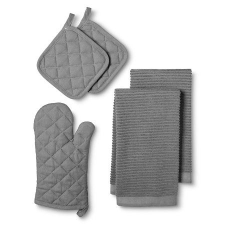 Kitchen Essentials Pack With Oven Mitt Gray Pot Holders 2 Towels