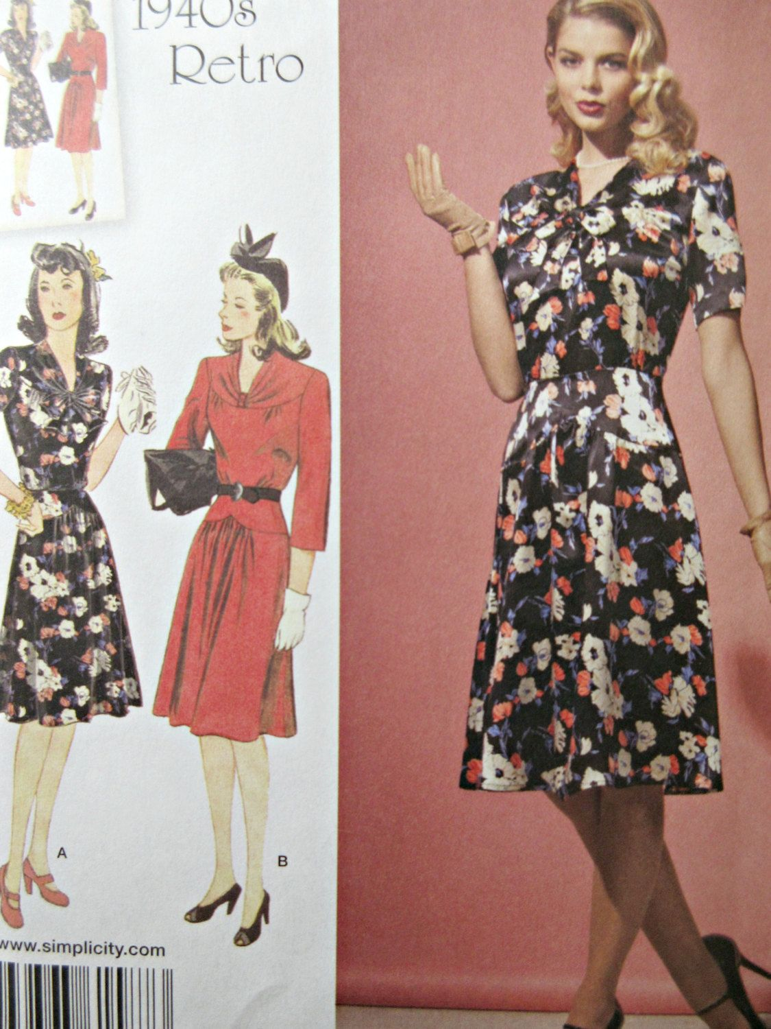 Simplicity 1587 Sewing Pattern, 1940s Dress Pattern Reproduction ...