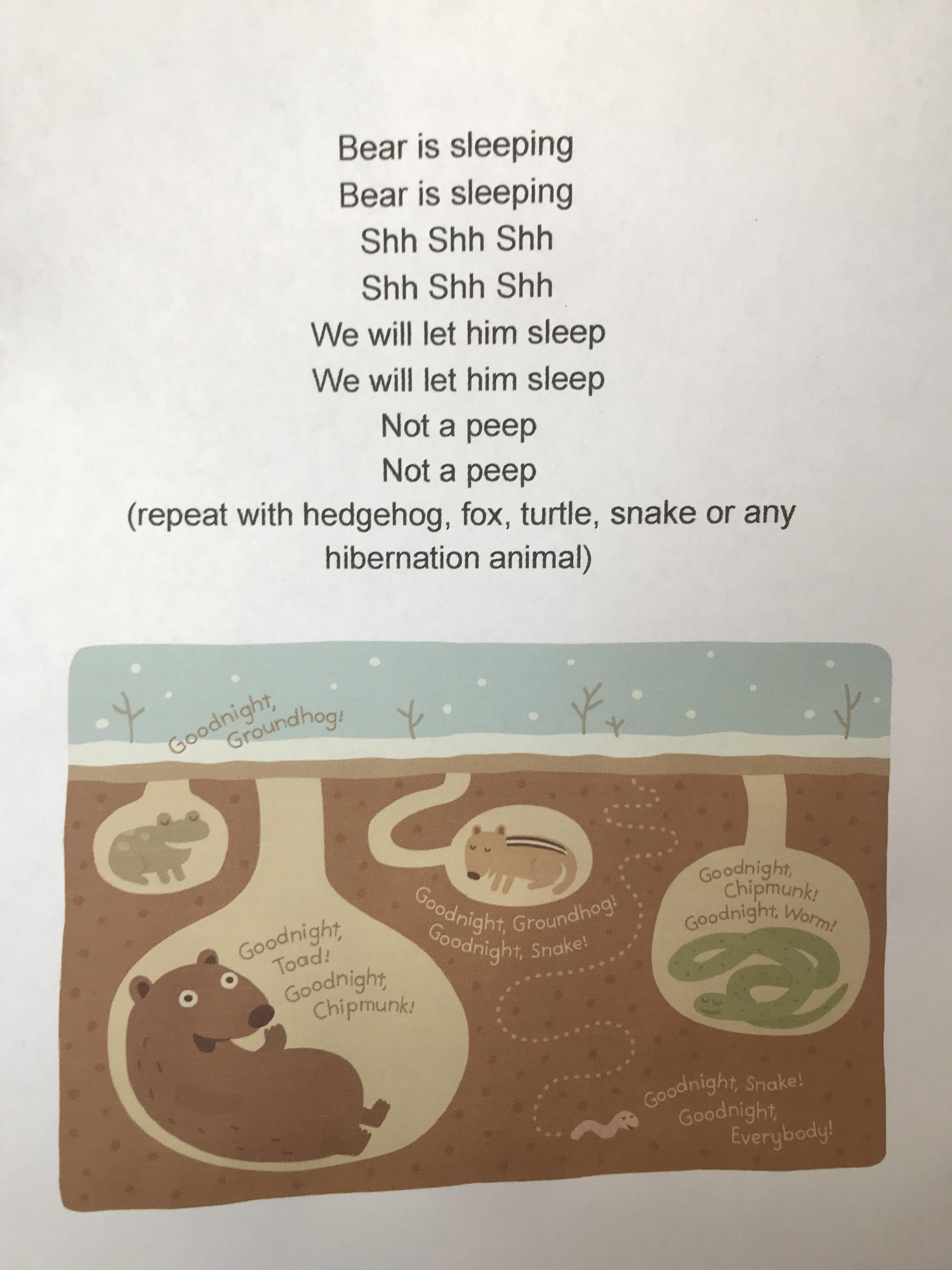 Sleeping Animals Song For Hibernation Preschool Theme