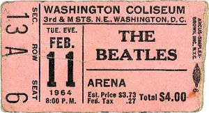 Antique ticket to The Beatles Concert from Feb. 11, 1964. This is my birthday!