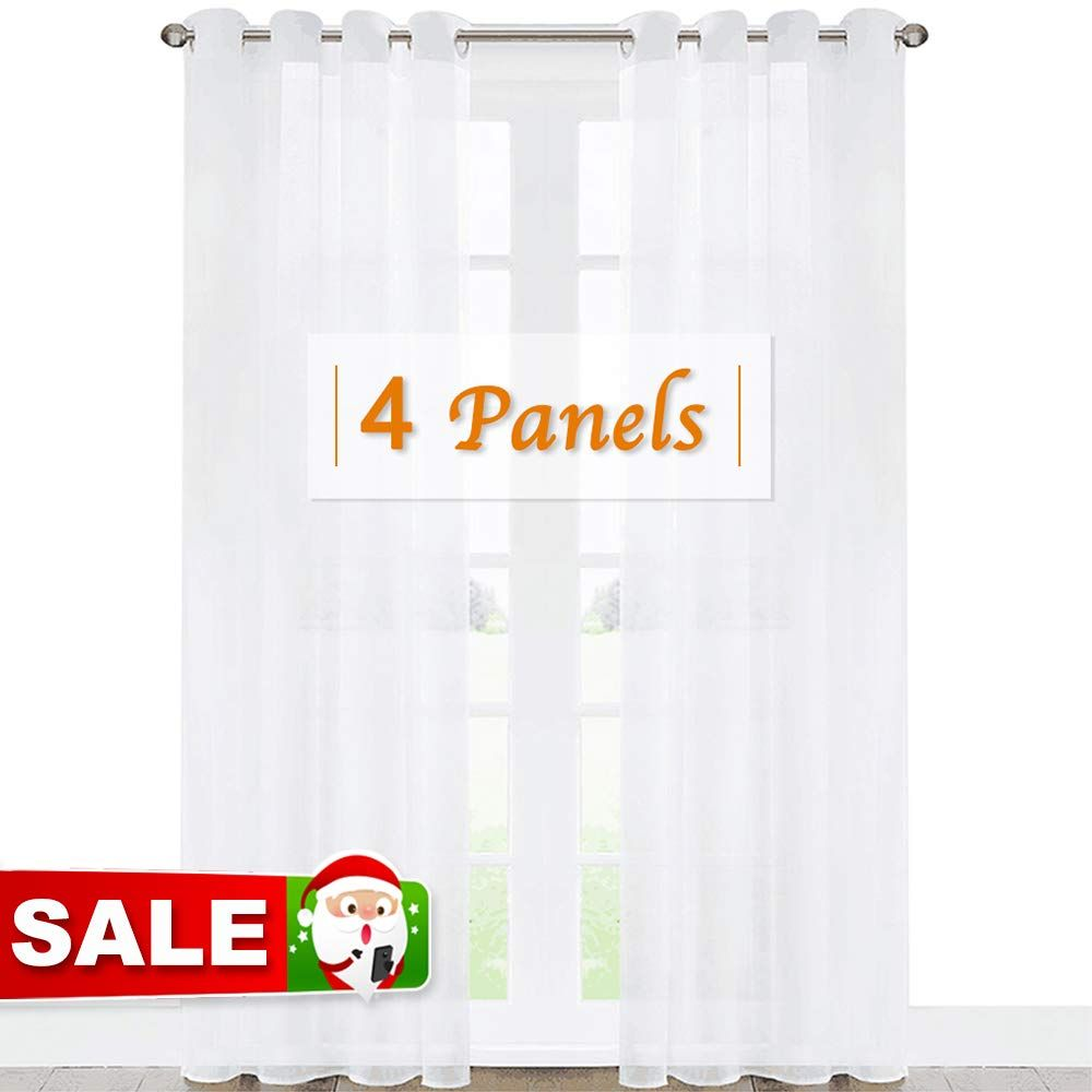 Ryb Home Extra Long Curtains For Large Window Bedroom White Sheer