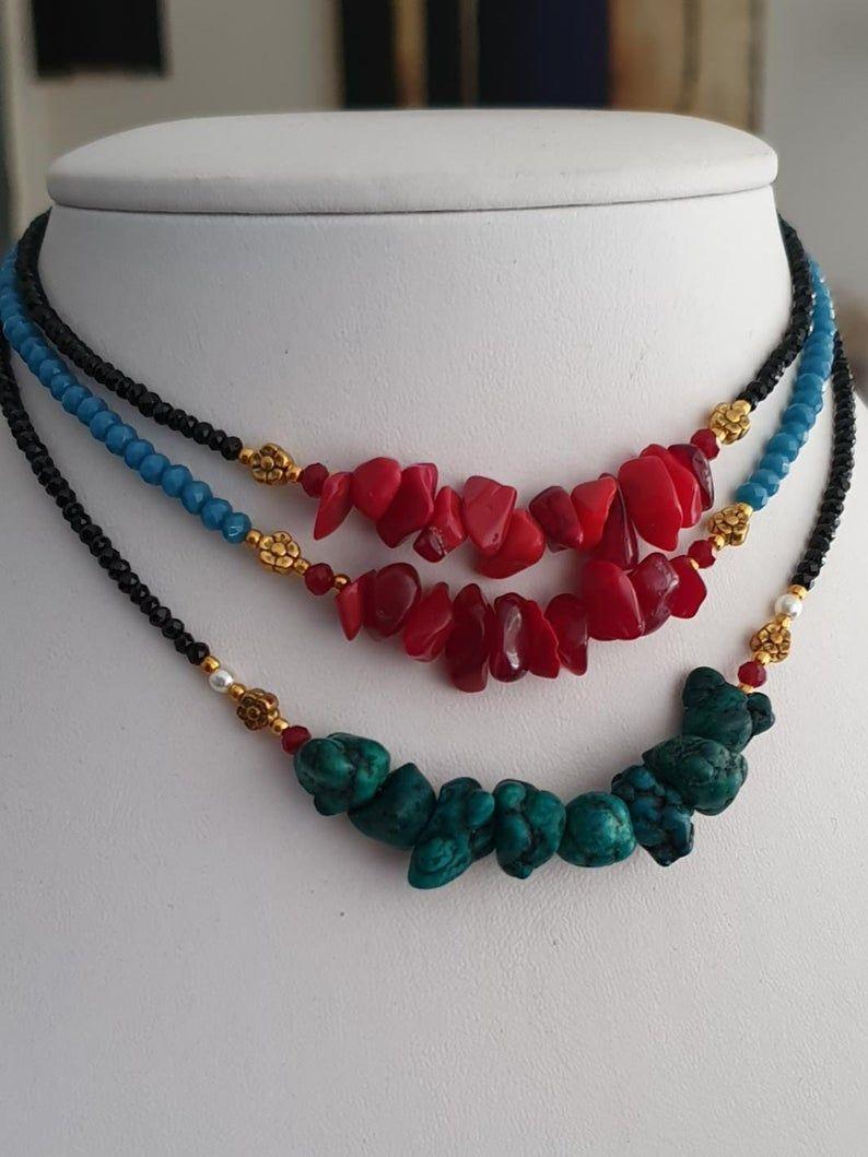 Photo of Choker, Hippie Jewelry, Layered choker, Boho hippie jewelry , Summer Choker, Red Bambu Coral Choker