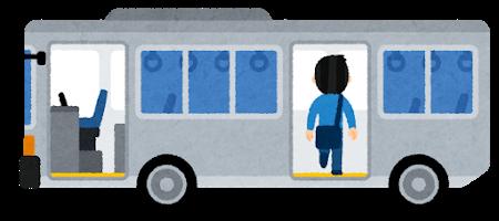 バスに乗る人のイラスト 男性 後ろのドア イラスト 人 イラスト ゆるり