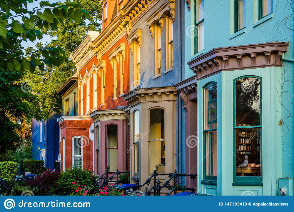 Colorful Row Houses On Independence Avenue In Capitol Hill Washington Dc Stock Image Image Of Buildin Row House House Landscape Washington Dc Neighborhoods