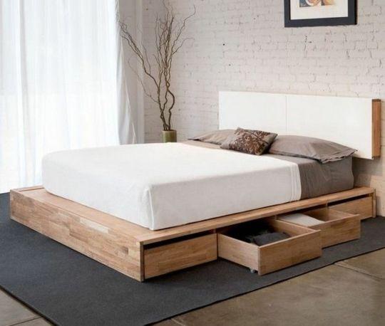 Lit Avec Rangement Idee Creative Pour Les Petits Espaces Bed Design Bedroom Design Platform Bed With Storage