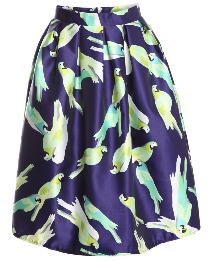 With Zipper Parrot Print Pleated Skirt 22.33