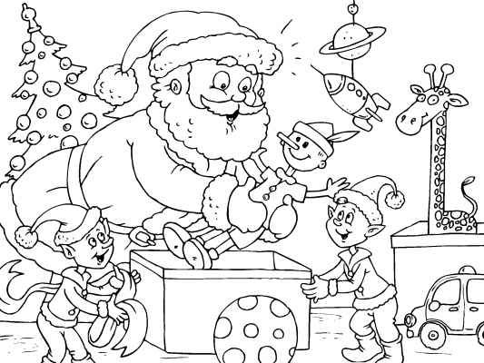 Santa and the elves packing up toys for Christmas. Color this fun ...