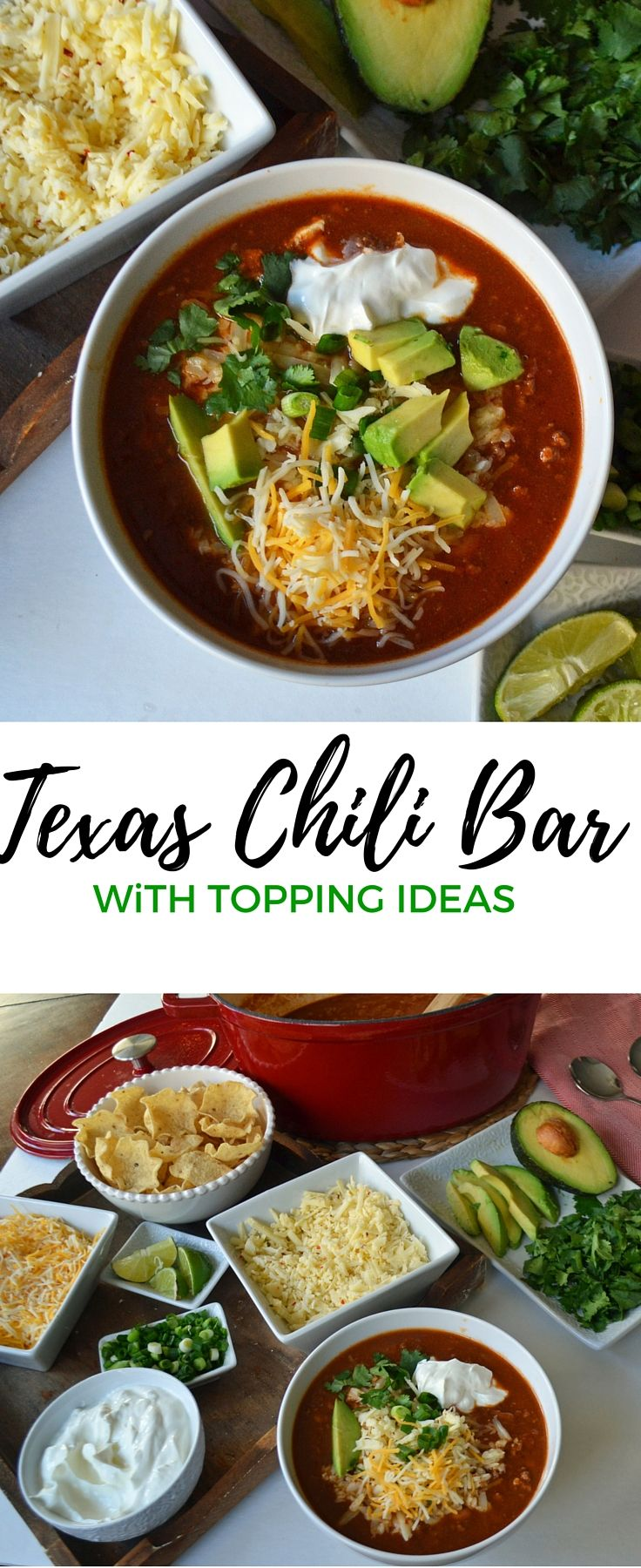 Texas Sized Chili Bar with a secret ingredient in the chili that sets it apart from other chili recipes. Your family will love this recipe! Plus a list of topping ideas to host your own chili bar.
