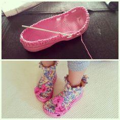 #crochet #crocs #DIY #reuse #recycle virkatut höpöhöpö crocsit