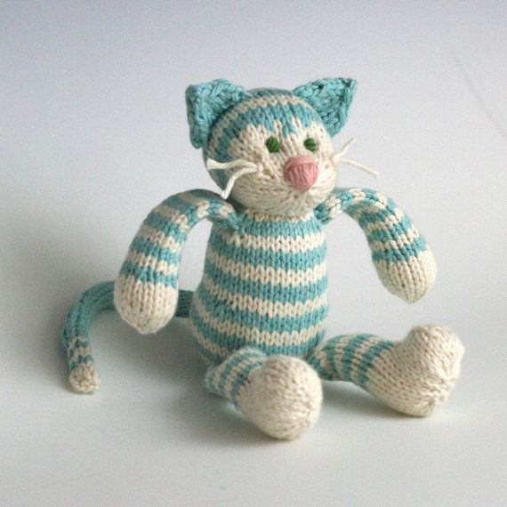 Snow Cone Tabby Cat Hand Knit Organic Cotton Toy Kitty 10 Tall